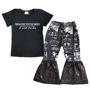 Girls Johnny Cash Top & Sequin Bell Bottoms Pants
